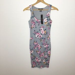 NWT Joe & Elle gray floral bodycon pencil dress